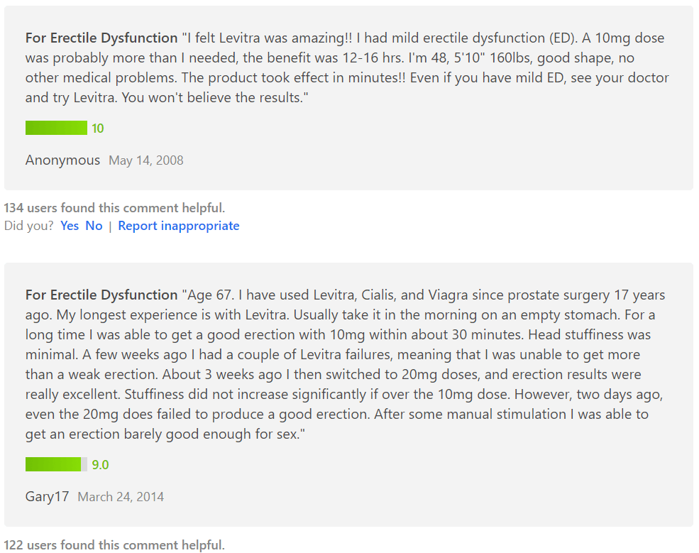 An anonymous user of Levitra shared his impression about using it on 14 May 2008